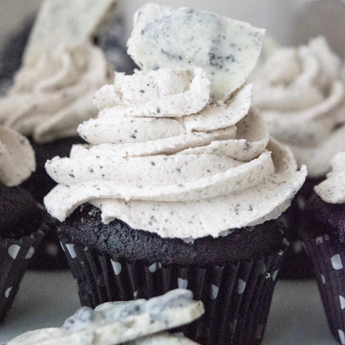 Decadent Dark Chocolate Cupcakes with a Rich Cookie Bark Frosting