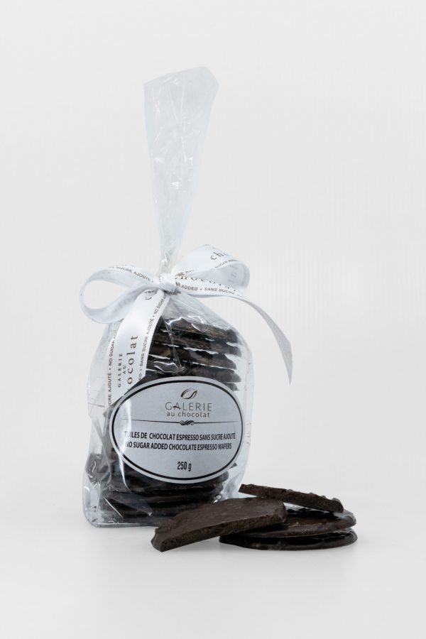 No Sugar Added Dark Chocolate Espresso Wafers 250g
