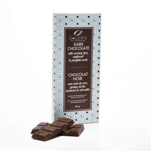 Chocolat Noir avec Noix de Coco, Graines de Lin, Tournesol et Citrouille