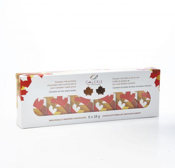 Chocolat au Lait et Noir Feuilles d'Érable 6x18g