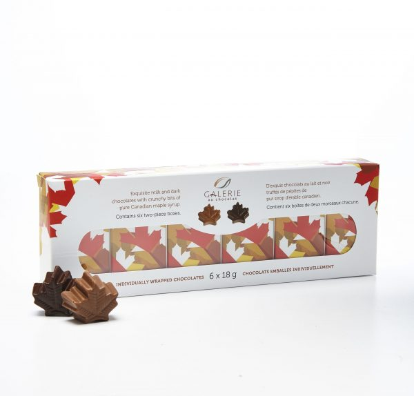 Milk and Dark Chocolate Maple Leaves 6x18g