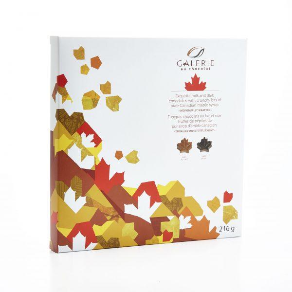 Chocolat au Lait et Noir Boîte Canadiana Feuilles d'Érable 216g