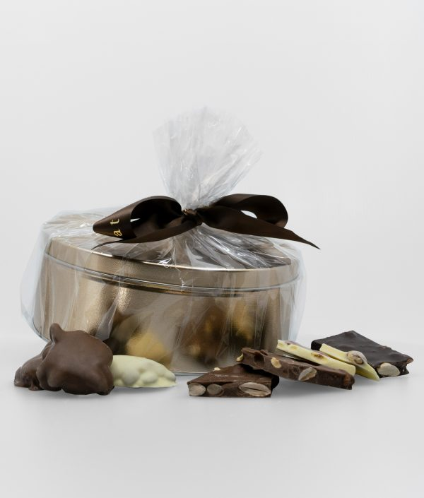 Gift Tin Mix of Chocolate Almond Bark and Caramel Almond Dreams – 1.65kg